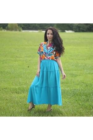blue maxi skirt skirt