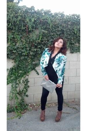 H&M blazer - Urban Outitters necklace - asos bodysuit - Jeffrey Campbell pumps