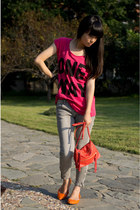 hot pink H&M t-shirt - silver Zara jeans - salmon H&M bag