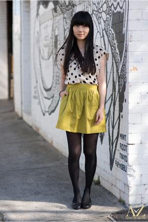 ivory polka dots Zara shirt - gold Stradivrius skirt