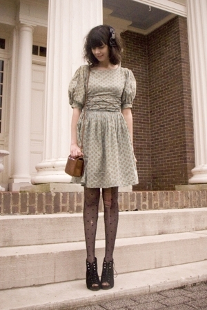 green vintage dress - black Dolce Vita shoes - black Betsey Johnson tights