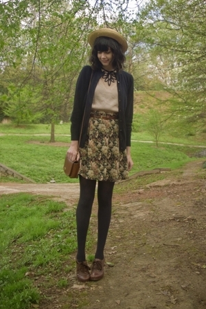 hat - blouse - Express skirt - sweater - Jeffrey Campbell shoes