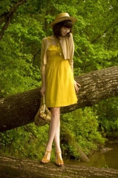 beige ebay hat - beige Chelsea Crew shoes - yellow Anthropologie dress