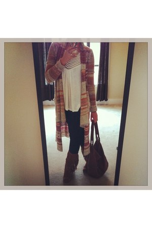 knit free people cardigan - skinny leg Gap jeans - zipper detail H&M bag