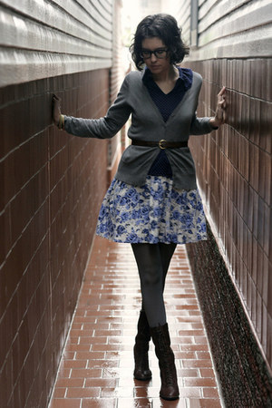 black boots - heather gray tights - charcoal gray cardigan - ivory blue floral s
