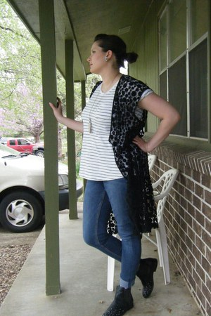 black kimono thrifted jacket - white flower Ebay earrings