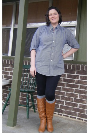 tawny thrifted boots - navy gingham thrifted shirt