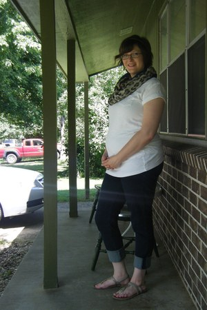 navy maternity thrifted jeans - blue thrifted scarf - white JCPenney t-shirt