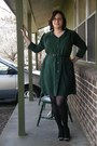 Dark-green-refashioned-thrifted-dress-coral-old-navy-earrings