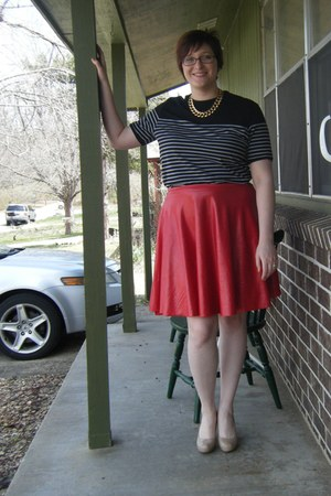 nude thrifted pumps - black striped thrifted t-shirt - red DIY skirt
