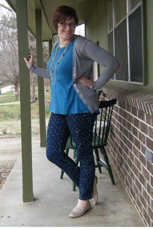 navy polka-dot DIY jeans - heather gray Harps sweater - teal DIY t-shirt