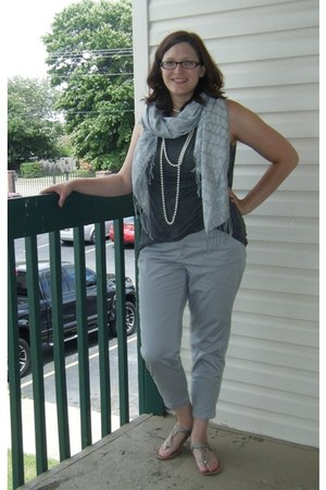 silver gifted scarf - heather gray thrifted shirt - silver thrifted pants
