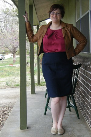 navy pencil DIY skirt - camel faux leather thrifted jacket