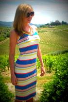 blue striped Reiss dress - H&M necklace