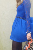 gray River Island boots - blue lace dress H&M dress