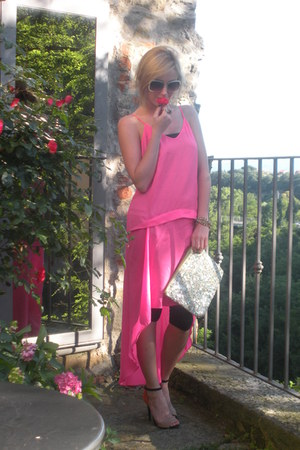 bubble gum hot pink silk Topshop dress - aquamarine sequinned Zara bag