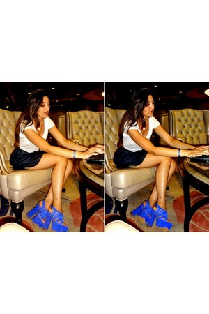 blue shammy Jessica Simpson heels - navy jeans Bershka skirt