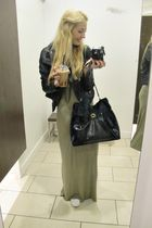 black YSL bag - black lindex jacket - green H&M dress