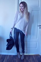 light pink just female sweater - black pony hair YSL bag - black leather pants B