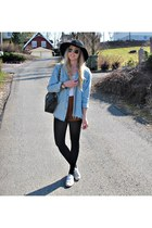 black H&M hat - light blue denim shorts One Teaspoon shirt - black Chanel bag -