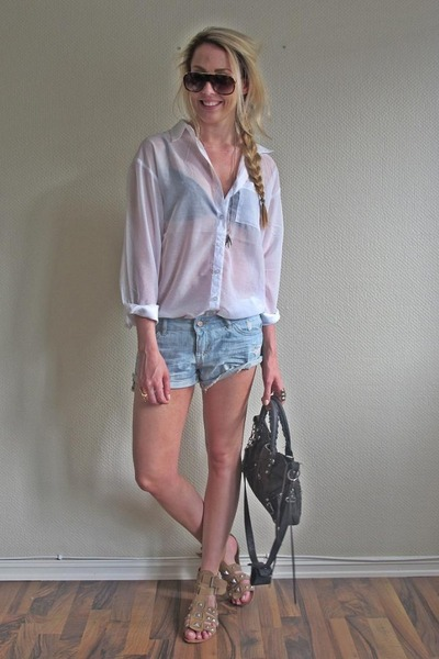 black balenciaga purse - beige Zara shoes - blue BikBok shorts - brown Marc Jaco