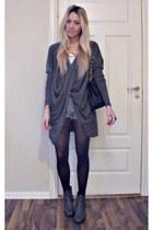 gray Nelly boots - black Chanel purse - Vintage Levis shorts - Second Female jum