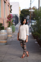 Joie sweater - LF leggings - madewell shirt - Cuyana bag - J Crew heels