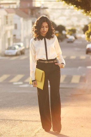 wide leg Topshop pants - asos purse - calf hair J Crew belt