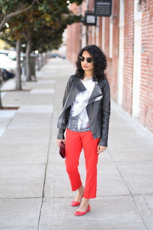 leather Zara jacket - clubmaster ray-ban sunglasses - J Crew flats