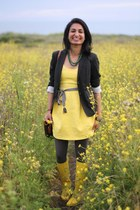 loeffler randall boots - yellow Zara dress - Club Monaco blazer - J Crew belt