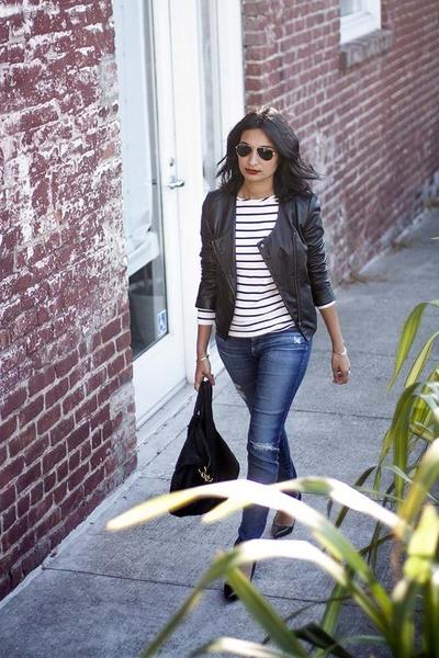 francoise Amour Vert shirt - AG jeans - leather kamari Joie jacket