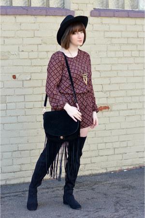 Forever 21 hat - black next boots - H&M bag - mustard Tillys necklace