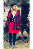 charcoal gray oxfords BDG shoes - red plaid modcloth coat - navy sailor Forever