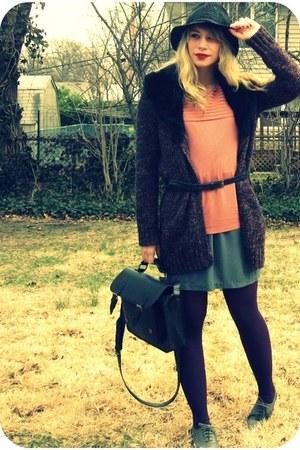 charcoal gray oxford shoes - charcoal gray H&M dress - black straw All Saints ha