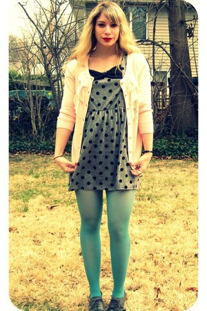 gray oxford BDG shoes - heather gray polka dot Forever 21 dress - turquoise blue
