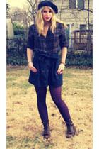 dark brown lace up Urban Renewal boots - navy Forever 21 coat - navy beret Ameri