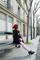 magenta Naf Naf coat - black asos bag - light pink zipia pants