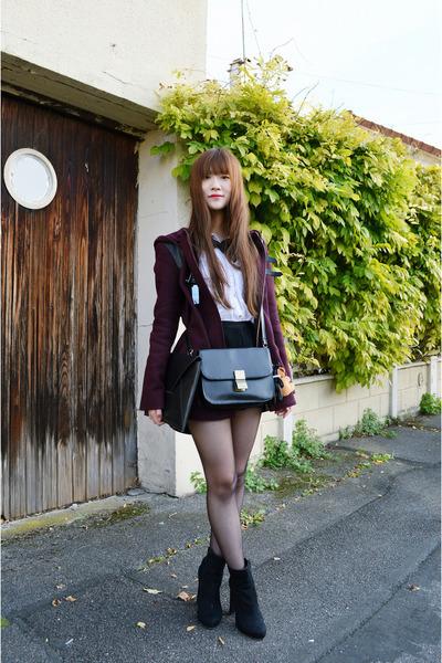 black nastygal boots - magenta Naf Naf coat - black H&M shorts