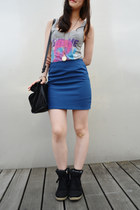 blue crayon skirt zipia skirt - black Zara bag - heather gray H&M top