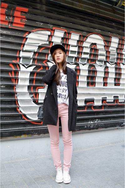 black zipia coat - light pink zipia pants - white H&M t-shirt