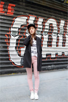 black zipia coat - light pink zipia pants - white H&M t-shirt
