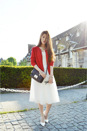 white zipia dress - red unknown cardigan