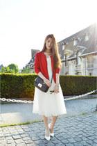white zipia dress - red unknown cardigan