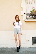 heather gray Topshop shorts - white H&M t-shirt