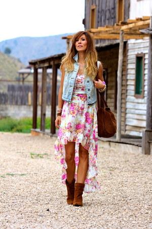 dark brown Stradivarius boots - pink OASAP dress - light blue Primark jacket
