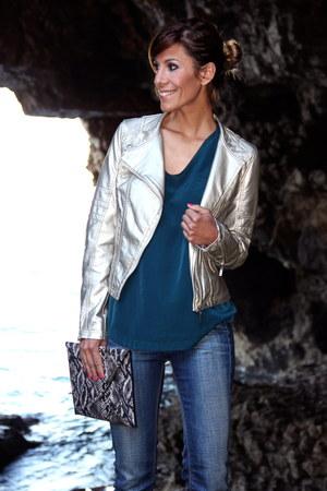 beige q2 jacket - silver H&M bag - teal Sfera t-shirt