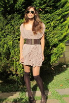 light pink dress - dark brown shoes