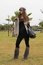 bag - boots - coat - belt - dress