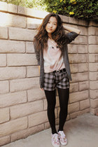 black bow tights - peach swan H&M shirt - heather gray plaid American Rag shorts