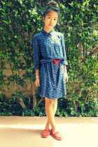 red canvas TOMS flats - blue tribal Urban Outfitters dress